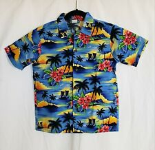 Hinalea Hawaiian Shirt Youth Size 10 Button Down Made in Hawaii Colorful PRE-OWN