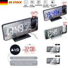 Digital LED Wecker Tischuhr Uhr Projektionswecker Thermometer Snooze Alarm USB
