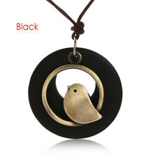 Bird Wooden Bead Pendant Fashion Women Vintage Long Necklace Velvet Chain Gifts