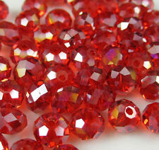 148pc 3*4mm NEW Jewelry Faceted Red AB Roundelle Crystal Beads DIY