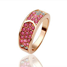 New 18K Gold Plated Solid Fashion Ring With Pink Swarovski Crystal Size 8