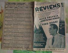 Ancienne Partition Tino Rossi Reviens ! Valse crée en 1910 et chanté en 1935