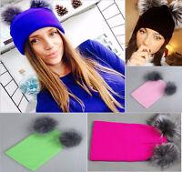 Warm Women's Winter Chunky Knit Double  Fur Pom Pom Hat Lady Cute Beanie Cap