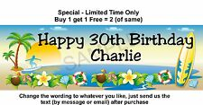 Birthday Party Banner Paper Sign, Tropical, Beach, Surfing, Surfer, Surfboard
