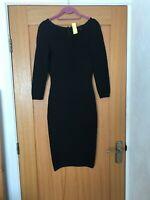 """""""Hardly Worn"""" Karen Millen Black Bodycon Knit Dress Size 1 (UK 6/8)"""