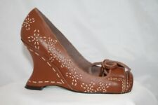 Irregular Choice Brown Leather Wedge Court Shoes Size 2.5