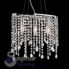 Lampada sospensione ovale cristalli pendenti cascata design moderno cromato