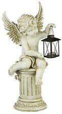 Gartenengel Engel auf Säule mit Laterne Gartenfigur Angel Grabengel Figur ANG930