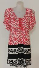 Autograph Womens Plus Size 26 Red Black & White Peasant Tunic Top RP