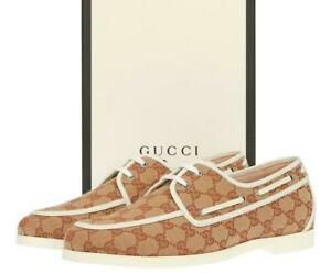 NEW GUCCI GG BEIGE WHITE MOCCASINS LACE-UP CASULA SHOES 10/US 10.5