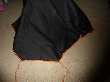 vtg Black fabric bridge folding card tablecloth 35''x36'&# 039; Tie corners Pink bord