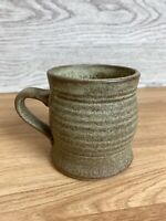 Vintage Studio Pottery Glazed Speckled Brown & Green Mug With Ribbed Detailing