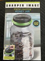 SHARPER IMAGE DIGITAL COUNTING SAVER MONEY JAR PIGGY BANK LCD BLACK GREEN LID