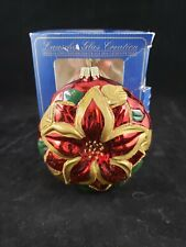 Lauscha Glas Christmas Ornament Blown Glass  Poinsettia Flower Red Germany