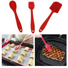 3pcs Cooking Utensils Sets Food Grade Silica Gel Flexible, Scraper+Spoon+Brush