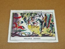 CHROMO #38 VILLAGE INDIEN CANADA CHOCOLAT PUPIER AMERIQUE NORD 1952