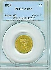 1859 $3 Gold  Indian Princess Head Gold Piece : PCGS AU55 FlashyLuster