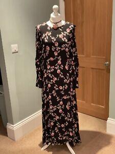 LAURA ASHLEY BLACK FLORAL LONG SLEEVED MAXI DRESS 12