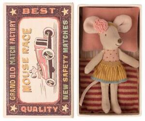 Maileg Maus Mäuse kleine Schwester in Streichholzschachtel Nostalgie Stoff Puppe