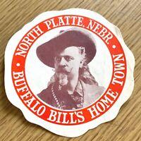 BUFFALO BILL'S HOME TOWN vintage paper decal NORTH PLATTE, NEBRASKA Buick Cars
