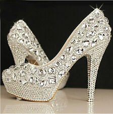 Bling Crystal Wedding shoes Bridal bridesmaids high heel pump wedge platform