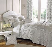 FLORAL TOILE PATCHWORK GREY KING SIZE COTTON BLEND REVERSIBLE DUVET COVER SET
