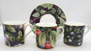 3 x Coffee Cans/Cups and 1 Saucer Mismatched Wedgwood Fruit Orchard Collection