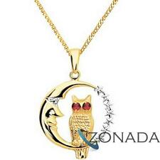 Owl Moon Ruby 9ct 9k Solid Yellow Gold Pendant 62185/cr