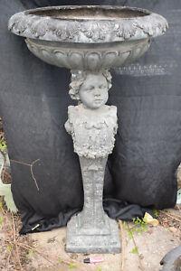 S.großer Bronze-Brunnen, Kind auf Säule, Spanien, Antikpatina, ca.80kg, 118cm