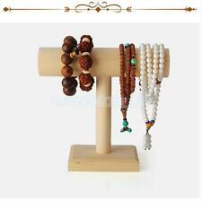 Unpainted Wooden T Bar Jewelry Braclet Anklet Watch Display Holder Stand DIY