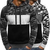 Men Camo Hooded Hoodie Sweatshirt Fleece Warm Sports Pullover Coat Jacket Casual