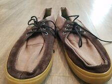 Mens Sanuk Canvas Lace Up Loafers Boat Shoes Brown Sz 8