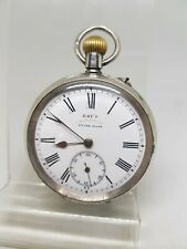 Antique solid silver gents Kay's ADVANCE pocket watch c1900 working ref1315