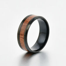 8mm Band Ring Tungsten Steel Wood Couple Men's Stainless Steel Silver Black Gift