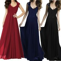 Women's Sexy V-neck Lace Long Dresses Ladies Summer Cocktail Party Evening Dress
