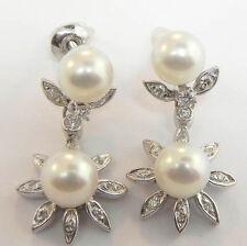 LADIES 14K WHITE GOLD HANGING PEARL DIAMOND FLOWER EARRINGS