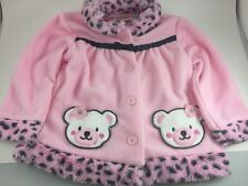 LITTLE LASS PINK TODDLER FLEECE COAT & PANTS ANIMAL PRINT TEDDY BEARS SZ 18 MOS