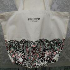 Kate Moss Top Shop Cotton Tote Bag Canvas Shopper Off White Paisley Print Large