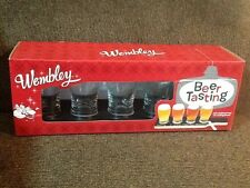 Wembley Beer Tasting Set of 4 - 5oz Glasses w/ Chalkboard Top for Marking Beers