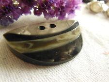 Imposant bouton ancien art deco trois étages ovale marron 3,8 sur 3 cm D6L