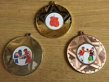 3 x BOXING MEDALS (50mm) GOLD,SILVER & BRONZE - FREE ENGRAVING,CENTRES & RIBBONS
