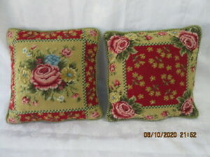 Pr Vintage Needlepoint Pillow Cover - 12 X 12, Red & Pink Roses w Zippered Cover