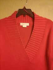 MICHAEL by MICHAEL KORS Woman Vivid Red Cowl Neck Sweater M Cotton Blend MEDIUM
