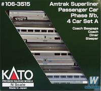 Kato 1063515 Amtrak Superliner Phase IVb - 4-Car Set A N Scale