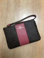 NWT Coach Signature PVC Leather Corner Zip Wristle - Brown/Rogue Pink F58035