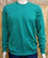 Men`s Jumper Crew Neck Cotton Blend Size Large Green Ex-M&S Pullover
