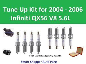 Tune Up Kit for 2004 2005 2006 Infiniti QX56 V8 Spark Plug, Oil Filter, Air Filt