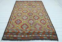 """Vintage Turkish Denizli Kilim Area Rug Antique Wool Floor Handmade Carpet 65""""x96"""