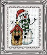 Cross Stitch Kit Design Works Christmas Birdhouse Picture w/Frame & Mat #DW515