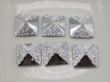 200 Silver Flatback Acrylic Glitter Bows Rivoli Square Cabochons 10X10mm